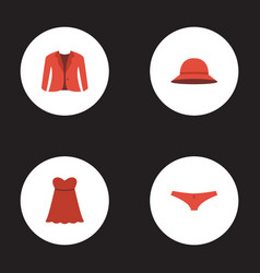 Flat icons elegant headgear evening dress vector