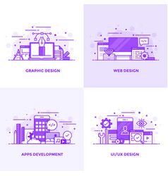 flat line purple designed concepts vector image