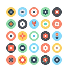 Flowers Colored Icons 2 vector