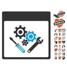 Gear tools calendar page icon with love bonus vector
