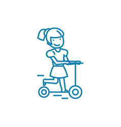 girl riding a scooter linear icon concept girl vector image