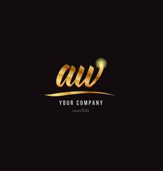 Gold alphabet letter aw a w logo combination icon vector