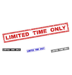 grunge limited time only scratched rectangle vector image