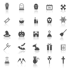 Halloween icons with reflect on white background vector image