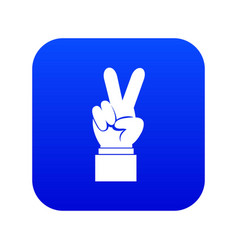 hand with victory sign icon digital blue vector image