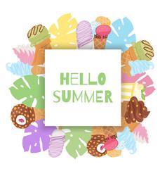 Hello summer ice cream waffle cones and tropical vector