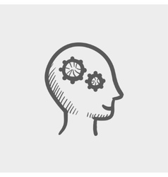 Human head with gear sketch icon vector image