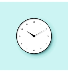 icon white clock face with shadow on mint wall vector image