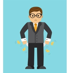 Impoverished businessman in crisis vector