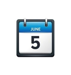 June 5 Calendar icon flat vector
