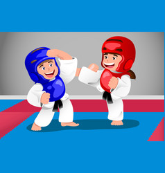 kids practicing taekwondo vector image
