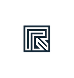 letter r geometric isolated vector image
