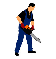 Lumberjack with chainsaw forester worker with saw vector