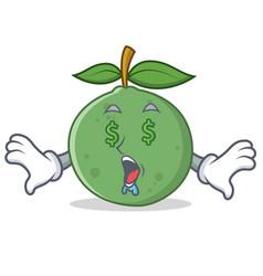 Money eye guava mascot cartoon style vector