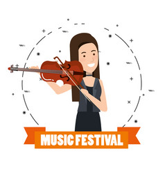 Music festival live with woman playing violin vector