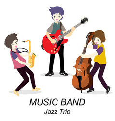 Musicians jazz trio play guitarsolo guitarist vector