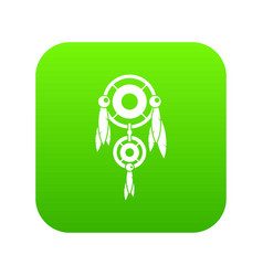 native american dreamcatcher icon digital green vector image