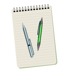 notebook and two pens vector image