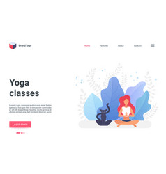 online yoga classes landing page yogist character vector image