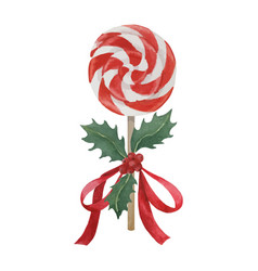 Peppermint lollipop decorated for christmas vector