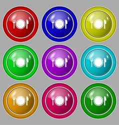 Plate icon sign symbol on nine round colourful vector
