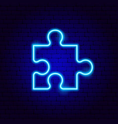 Puzzle neon sign vector