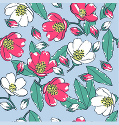 Seamless floral pattern on a blue background vector