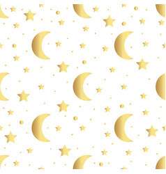 seamless pattern with gold stars and moon vector image