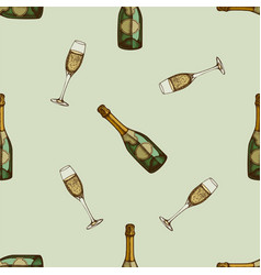 Seamless pattern with hand drawn colored champagne vector