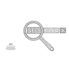 Seo optimization poly design magnifying glass and vector