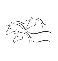 silhouette 3 horse logo template design on vector image