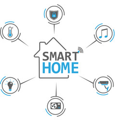 Smart home flat icons set vector
