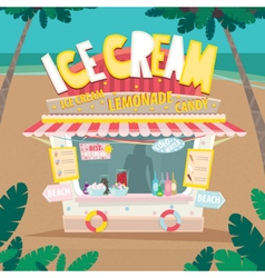 Stall selling ice creams by the sea vector image