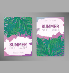 Summer vertical backgrounds with tropical leaves vector