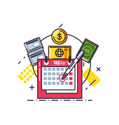 Tax day with calendar reminder and set icons vector