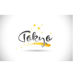 Tokyo word text with golden stars trail and vector