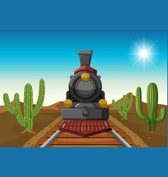Train ride in middle of desert vector
