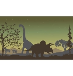 Triceratopsand brachiosaurus silhouette vector