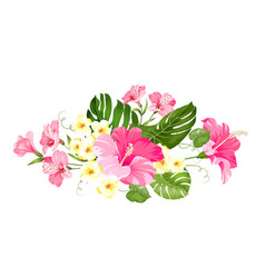 Tropical flower garland for your card design vector