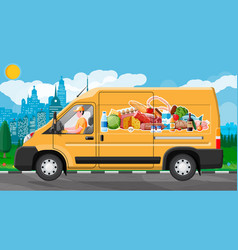 Van car full food products vector