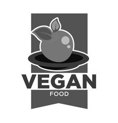 vegan food monochrome isolated icon apple on plate vector image