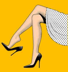 Vintage drawing beautiful woman legs in vector