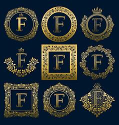 Vintage monograms set of f letter vector