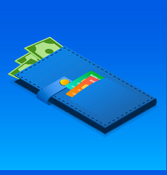 wallet with money icon isometric style vector image