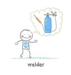 Welder thinks about the welding machine vector