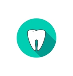 White tooth icon flat with long shadow vector image