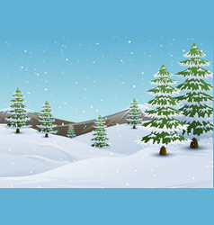 winter mountains landscape with fir trees and fall vector image