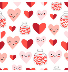 wonderful seamless festive pattern funny hearts vector image