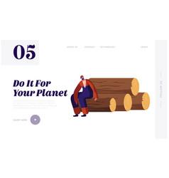 Wood harvesting logging forestry industry vector