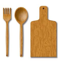 Wood utensils vector